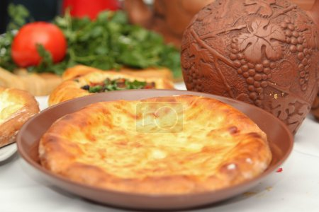 Khachapuri by Adzharia (Georgian cheese pastry), filled with cheese
