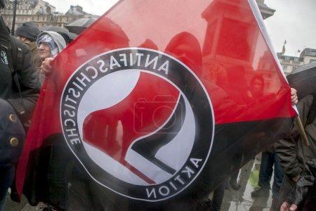 Protesters congregate on Trafalgar Square