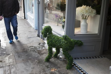 The Dog from artificial grass, lifts his foot on the street near the flower shop
