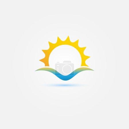 Sun and sea wave vector minimal icon - bright sunset symbol