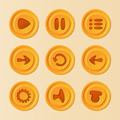 Game UI - vector set of buttons for mobile game or app, yellow play, pause, menu, reload, options, sound elements for development