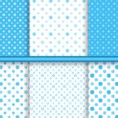 Set of bright blue childish different vector seamless patterns (tiling) - baby blue textur
