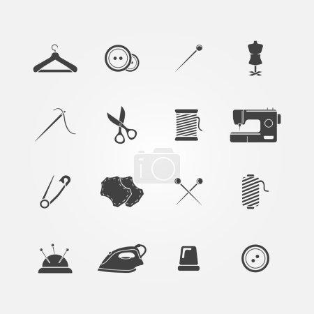 Illustration pour Ensemble de 16 icônes d'outils à coudre - équipement de couture vectorielle - image libre de droit