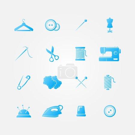 Illustration pour Ensemble d'icônes bleu 16 outils à coudre - équipement de couture vectorielle - image libre de droit