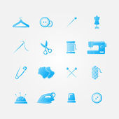 Set of blue 16 sewing tools icons