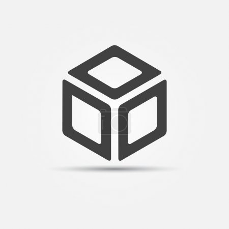 Illustration for Vector cube icon - flat minimal 3d logo concept - Royalty Free Image