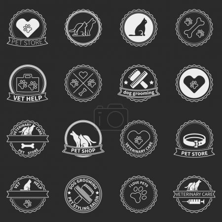 Set of dog ans cats logos and badges