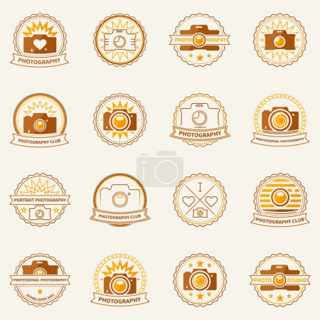 Illustration for Photography labels and badges - vector set of flat retro photo camera icons or logos - Royalty Free Image