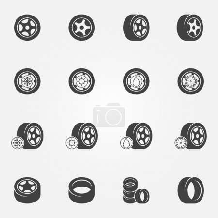 Tire icons vector set