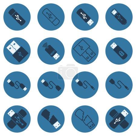 USB vector dark blue flat icons