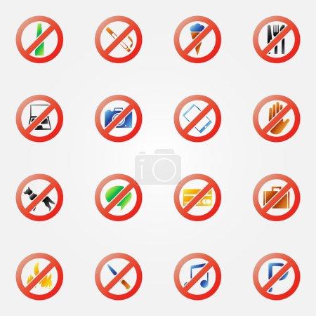 Restriction icons or symbols set