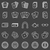 Poker or casino icons set on black background
