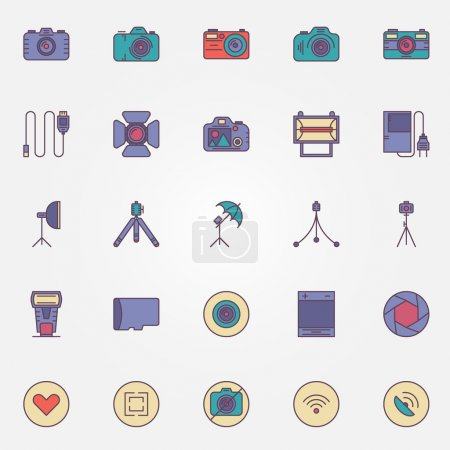 Photography colorful icons