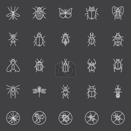 Illustration pour Ensemble d'icônes d'insectes - collection vectorielle de insectes, mouches et scarabées en ligne sur fond sombre - image libre de droit