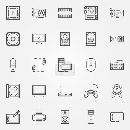 Computer components icons set
