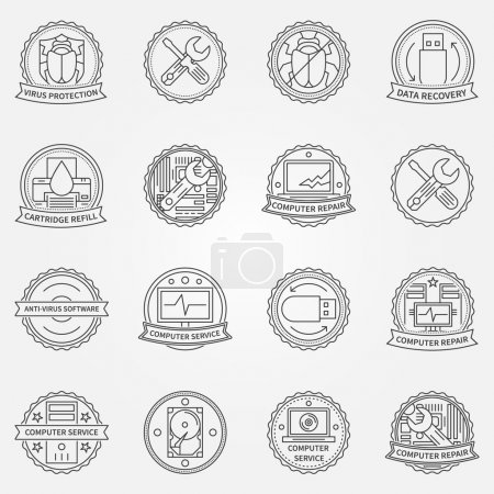 Illustration for Computer service or repair badges and labels - vector antivirus protection, data recovery icons - Royalty Free Image