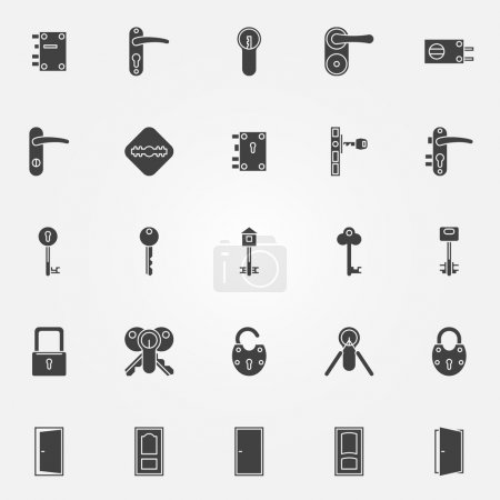 Illustration for Door lock icons - vector black symbols of keys, doors and locks - Royalty Free Image
