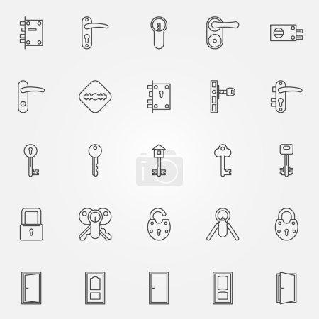 Illustration for Door lock icons - vector set of door, keys, lock symbols in thin line style - Royalty Free Image