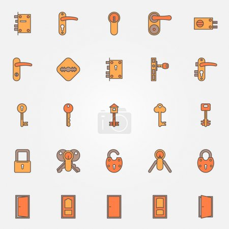 Illustration for Door locks, keys and doors colorful icons - vector set of symbols or logo elements - Royalty Free Image