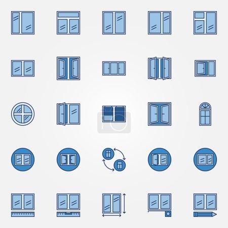 Windows blue icons set