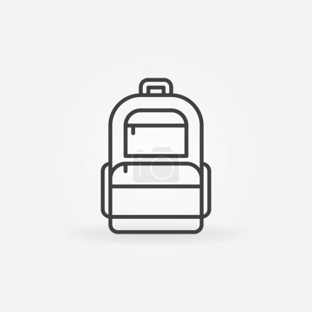 Illustration for Backpack icon or logo - vector thin line dark bag symbol - Royalty Free Image