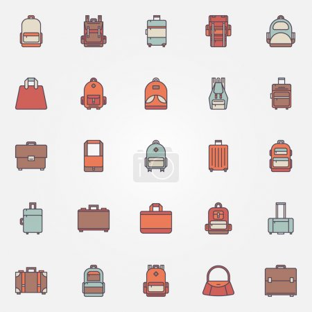 Illustration for Bag colorful icons - vector set of backpack, handbag, briefcase and other luggage symbols - Royalty Free Image
