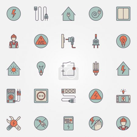 Electricity colorful icons