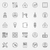 Elektřina ikony nastavit