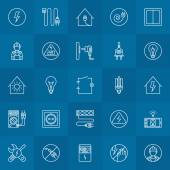 Electricity linear icons set