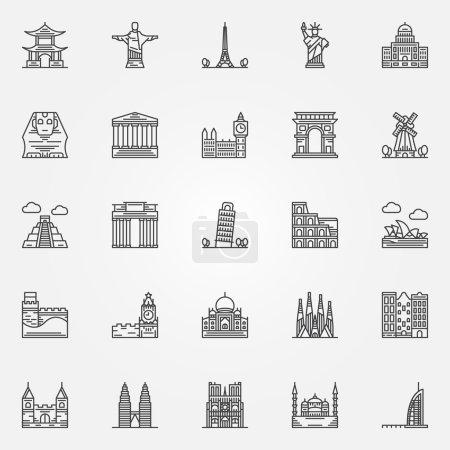 Popular travel landmarks icons - vector set of thi...