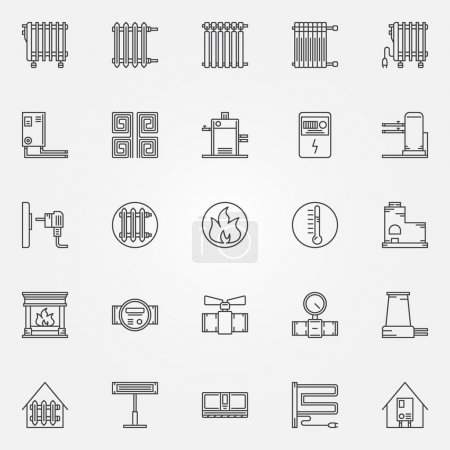 Illustration for Home heating icons set - vector collection of outline heating systems symbols or signs - Royalty Free Image
