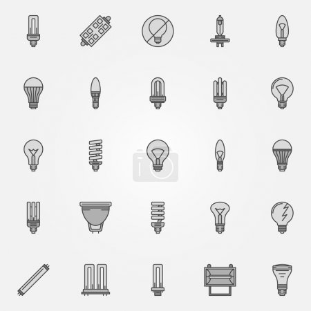 Monochrome bulb icons - vector collection of flat ...