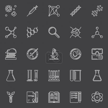 Illustration for Biotechnology icons set - vector educatioon or science symbols or logo elements in thin line style on dark background - Royalty Free Image