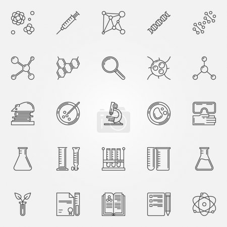 Illustration for Biotechnology icons - vector set of linear science symbols, DNA, cells and laboratory equipment signs - Royalty Free Image