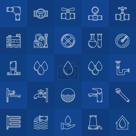 Illustration for Water supply icons - vector linear collection of bathroom equipment symbols or water logo elements - Royalty Free Image