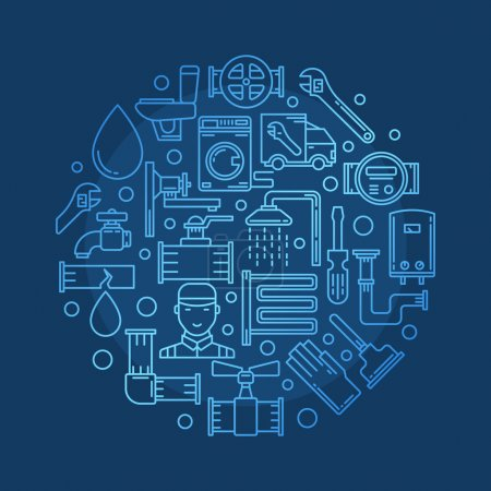 Illustration for Repair plumbing illustration - vector round blue plumbing design for business made with thin line plumbing equipment signs - Royalty Free Image