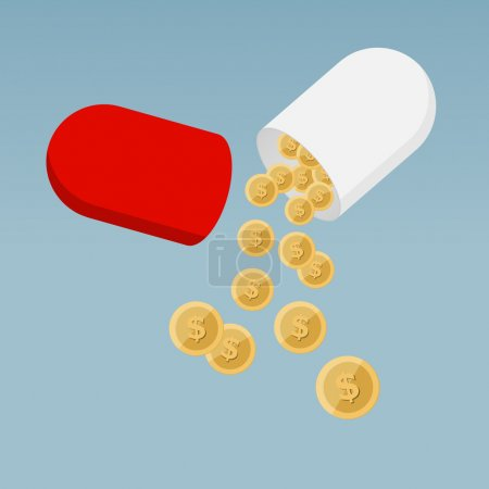 Illustration for Cost of Health Care - Pill Capsule Flat Design with Coins on Blue Background - Royalty Free Image
