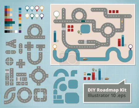 Road Map Design Elements, Set of Illustrations