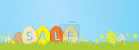 Colorful Easter Sale Banner -  Cute Easter Eggs, Grass and flowe