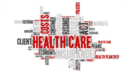 Illustration for Word Cloud - Health Care Issues. wordclouds about healthcare, insurance, costs and plans Red, grey, white - Royalty Free Image