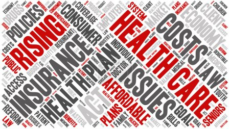 Illustration for Word Cloud - Health Care Issues. wordclouds about healthcare, insurance, costs and plans Red, grey, white. Diagonal Banner - Royalty Free Image