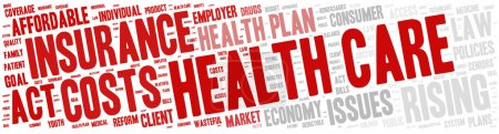 Illustration for Word Cloud - Health Care Issues. wordclouds about healthcare, insurance, costs and plans Red, grey, white. Banner - Royalty Free Image