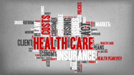 Illustration for Word Cloud - Health Care Issues. wordclouds about healthcare, insurance, costs and plans Red, grey, white. Banner with Texture Added - Royalty Free Image