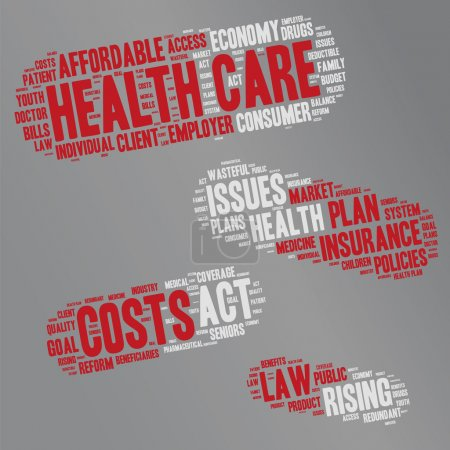 Illustration for Word Cloud - Health Care Issues. wordclouds about healthcare, insurance, costs and plans Red, grey, white, Pill shape - Royalty Free Image