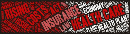 Illustration for Word Cloud - Health Care Issues. wordclouds about healthcare, insurance, costs and plans Red, grey, white. Dark Background. Banner - Royalty Free Image