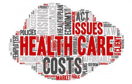 Illustration for Word Cloud - Health Care Issues. wordclouds about healthcare, insurance, costs and plans Red, grey, white. Isolated Cloud Shape - Royalty Free Image