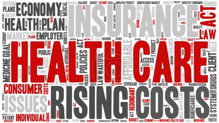 Illustration for Word Cloud - Health Care Issues. wordclouds about healthcare, insurance, costs and plans Red, grey, white. Isolated on White Banner - Royalty Free Image