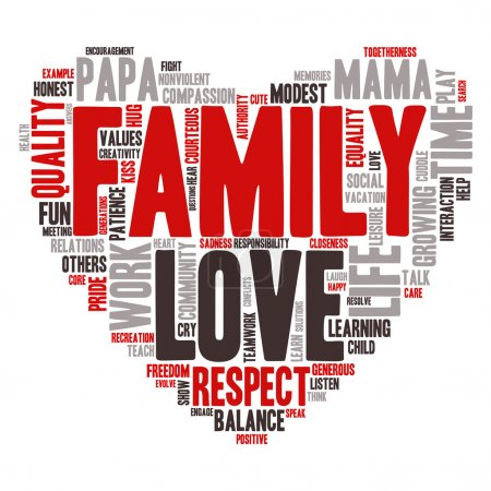 Illustration for Word Cloud - Family Values. wordclouds about family, love, respect and life work balance, Red, Grey, White, Black. Heart Shape - Royalty Free Image