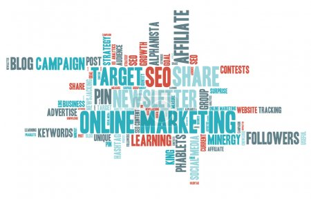 Word Cloud - Online Marketing - Isolated Banner