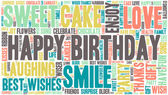 Word Cloud - Happy Birthday Celebration colorful wordclouds about celebrating your birthday Blue green yellow pink grey